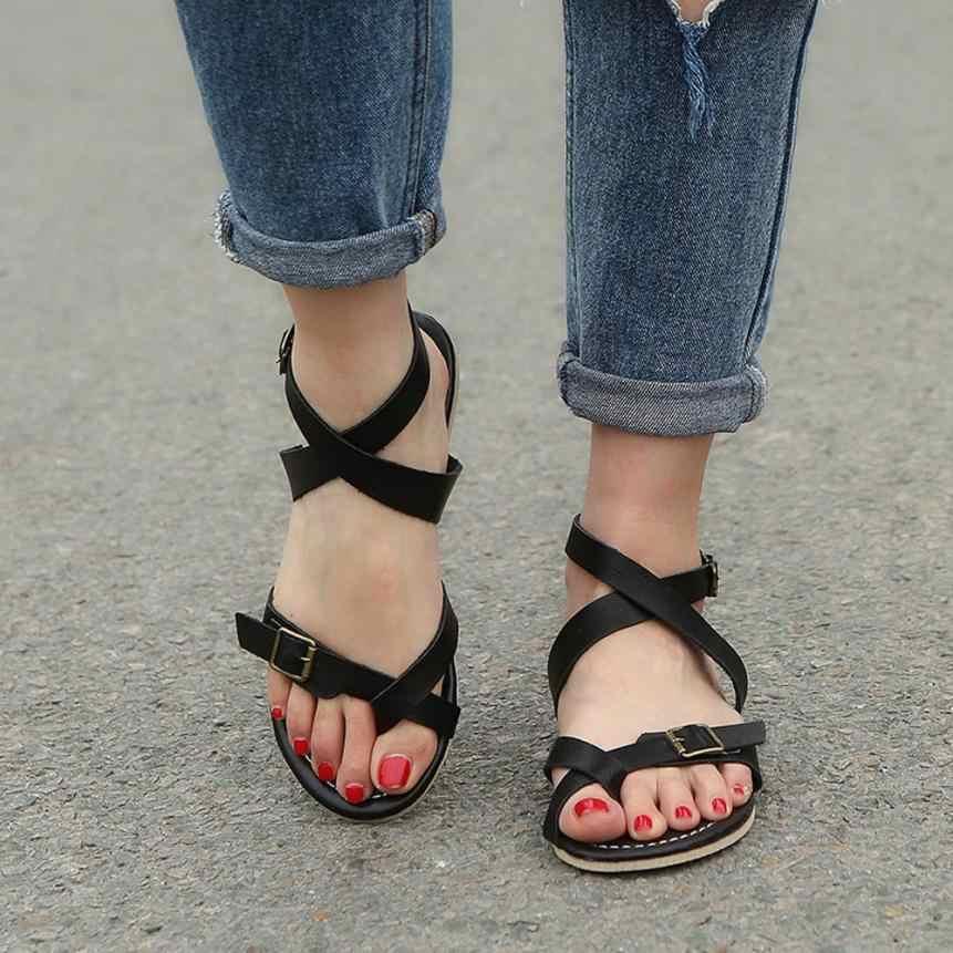 76baf3ec0a5f mokingtop women shoes sandals Womens Ladies Flat Wedge Espadrille Rome Tie  up Sandals Platform Summer Shoes