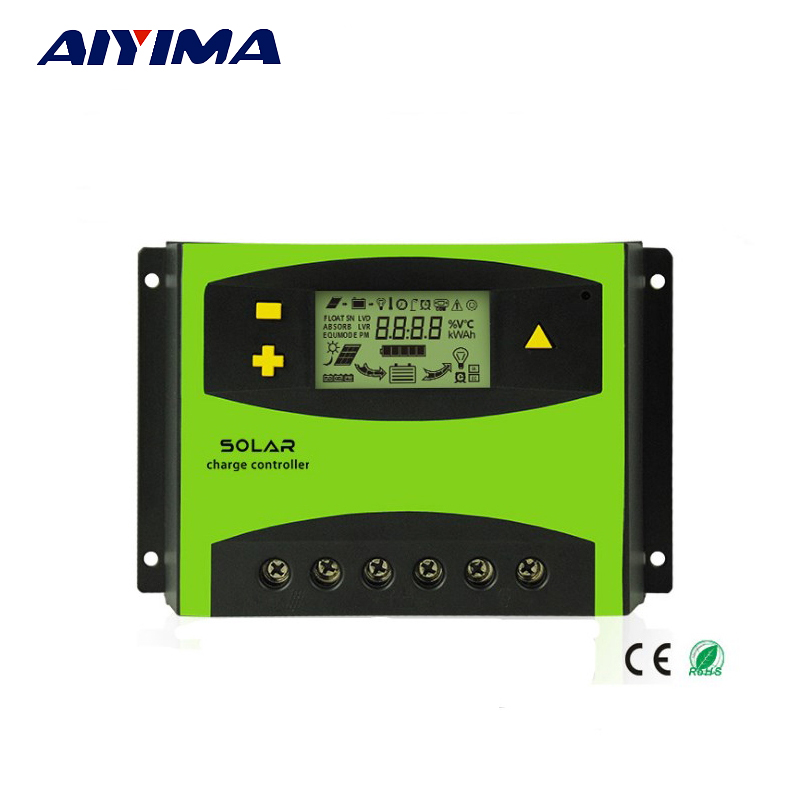 Aiyima 60A 12V/24V LCD Solar Charge Controller 20A 30A 40A 50A Auto Regulator for Solar Panels controller Current Display 50a 12 24v solar regulator charge controller lcd screen solar controller new