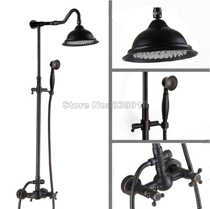 Wall Mounted Black Oil Rubbed Brass Rain Shower Faucet Set with Handheld Shower Head & Bathroom Dual Handles Mixer Taps Wrs701