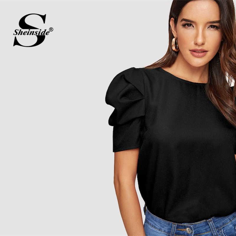 Sheinside Элегантный Вырез капелькой с пышными рукавами Блузка Твердые Топ Лето Блузки для Для женщин 2019 короткий рукав женские топы