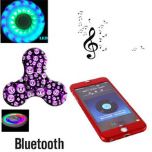 2017 HOT Bluetooth Speaker Finger Fidget Spinner with led lights Antistress Funny hand tri spiner fidget Music toy for Kid Adult