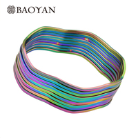9 Pieces Set Colorful 316L Stainless Steel Woman Bangles Gold 18k Fashion Flower Round Style Bracelets