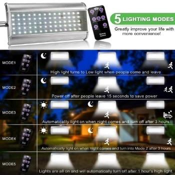70 LED Solar Street Light With Remote Controller 5 Modes Motion Sensor Street Lamp  Waterproof Super Bright Solar Garden Light 3