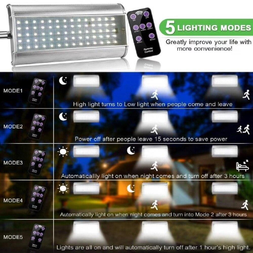 70 LED Solar Straße Licht Mit Fernbedienung 5 Modi Motion Sensor Straße Lampe Wasserdicht Super Helle Solar Garten Licht