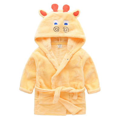2016 cotton worsted childrens bathrobes elk giraffe dog cartoon kids bath robe sleep wear gils bath robe Christmas clothes