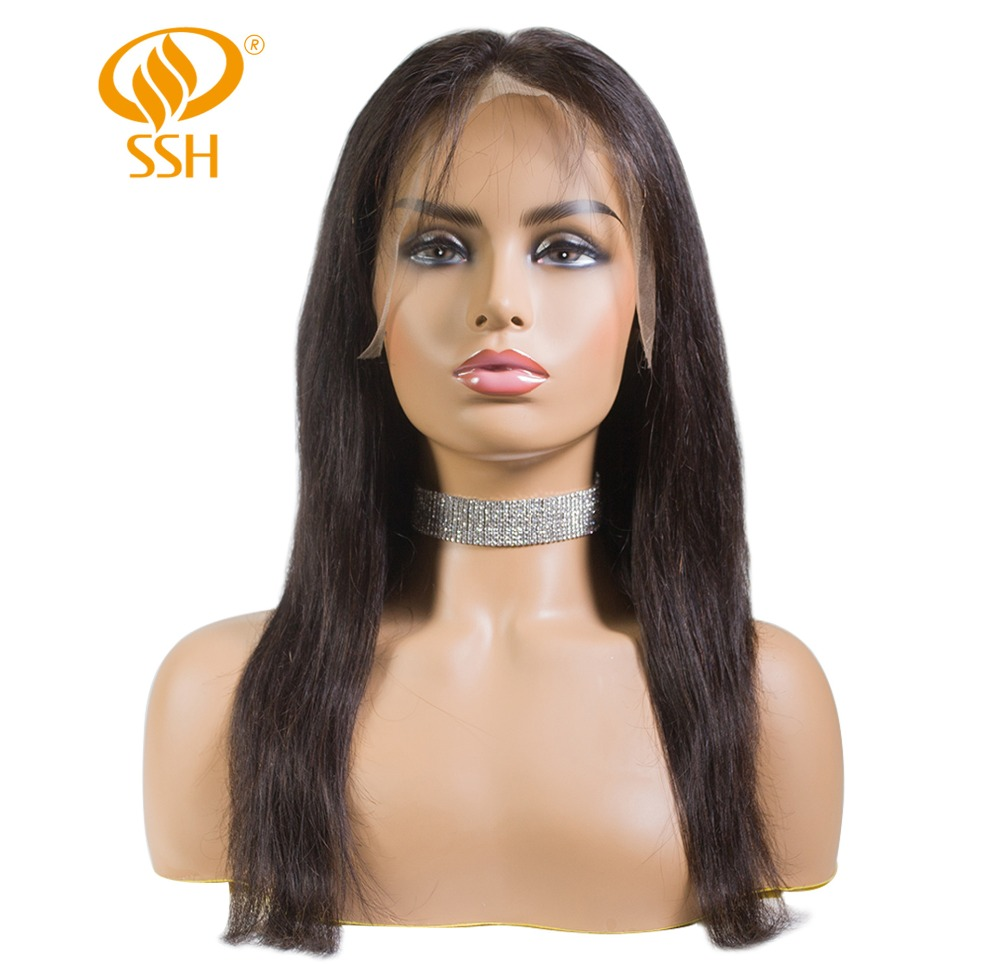 SSH Full Lace Human Hair Wigs Pre Plucked Natural Hairline With Baby Hair Straight Brazilian Remy Hair Wigs Bleached Knots in Human Hair Lace Wigs from Hair Extensions Wigs