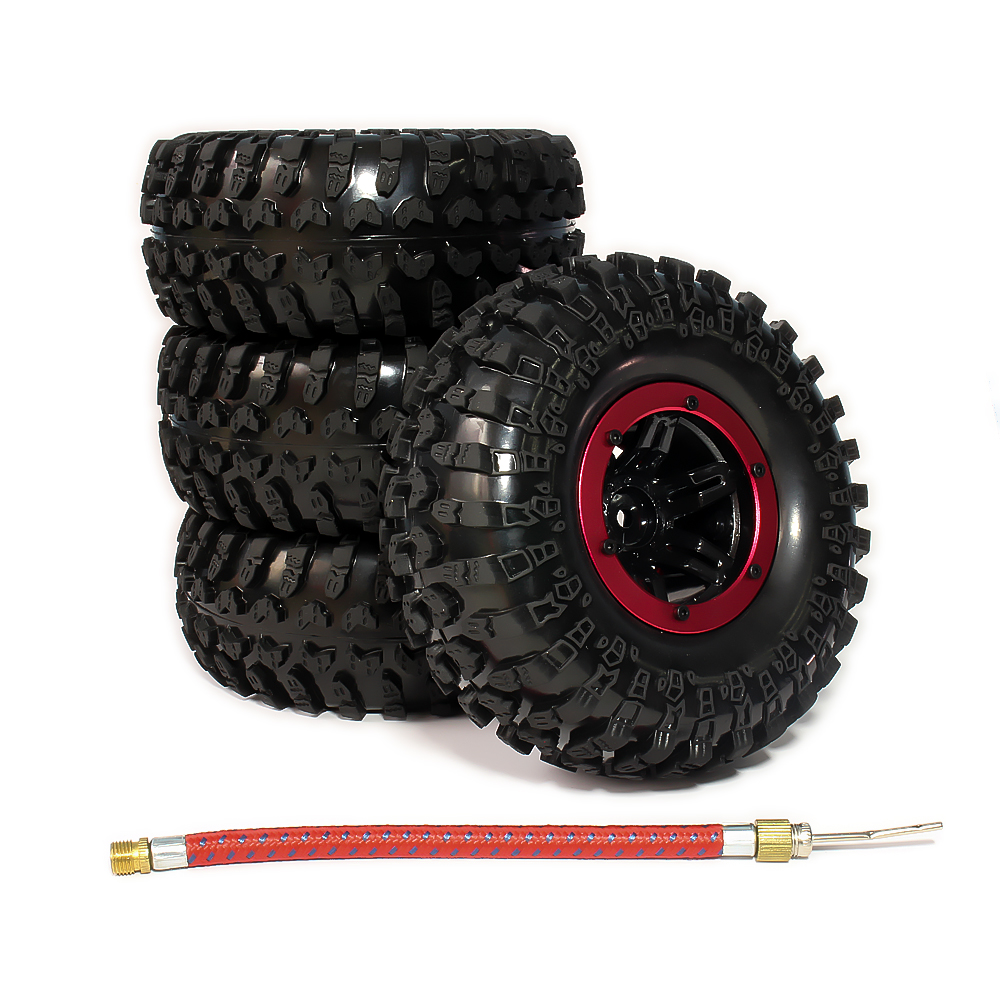 4pcs Inflatable 2.2 Inch Beadlock Tire Wheel Air Pneumatic For 1/10 RC Crawler Truck Wraith Scx10 AX10 Inflate Austar 2pcs 2 2 metal wheel hubs for 1 10 scale rc crawler car nv widen version outer beadlock wheels diameter 64 5mm width 43 5mm