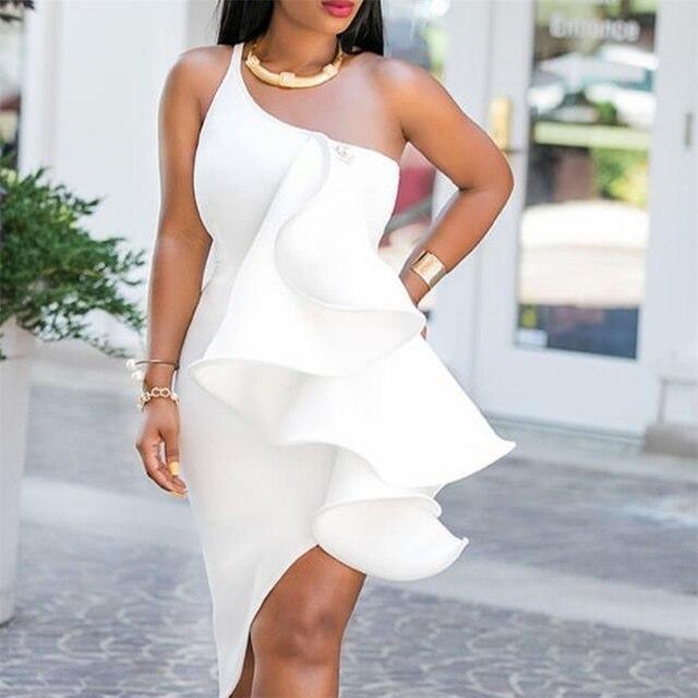 White Evening One Shoulder Ruffles Dress 2