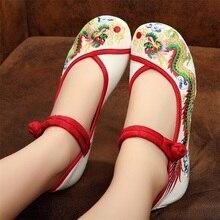 Drachen Alt Beijing Bestickte Frauen Schuhe Mary Jane Flache Ferse Denim Chinesischen Stil Casual Tuch Plus Größe 5 farben Schuhe frau