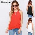Nueva llegada 2017 tropical blusa feminina moda ruffles hem-line camisa pullover o-cuello de la gasa de la blusa verano de las mujeres tops C274