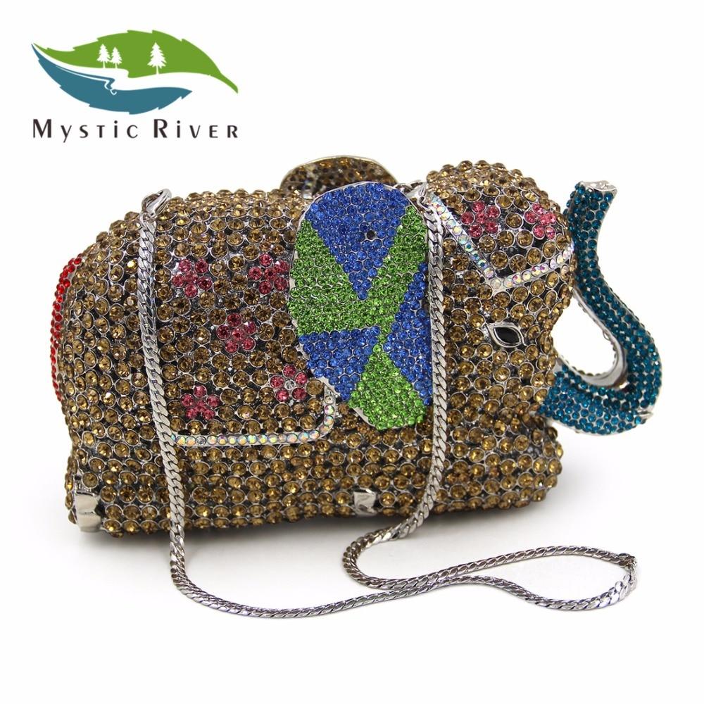 Mystic River Nuevas Mujeres de La Moda de Lujo Bolsos de Noche de Cristal Elefan