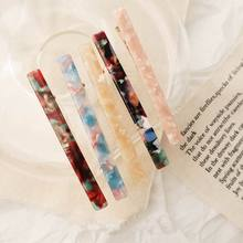 2019 Japan New Colorful Acetic acid Acrylic Resin Long Barrettes For Women Fashion Hairwear Geometric Strip Hairpins Hair Clips
