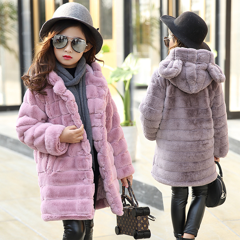 2018 New Winter Girls Clothes Faux Fur Fleece Coats Pageant Warm Jacket Xmas Snowsuit Hooded Outerwear