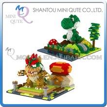 2 pçs/lote Mini Qute YZ jogo bonito modelos action figure super mario Bowser Yoshi plástico building block meninos presente educacional brinquedo