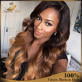 Medium Brown Ombre Human Hair Wigs Glueless Virgin Brazilian Body Wave Human Hair Wigs Ombre Two Tone Color