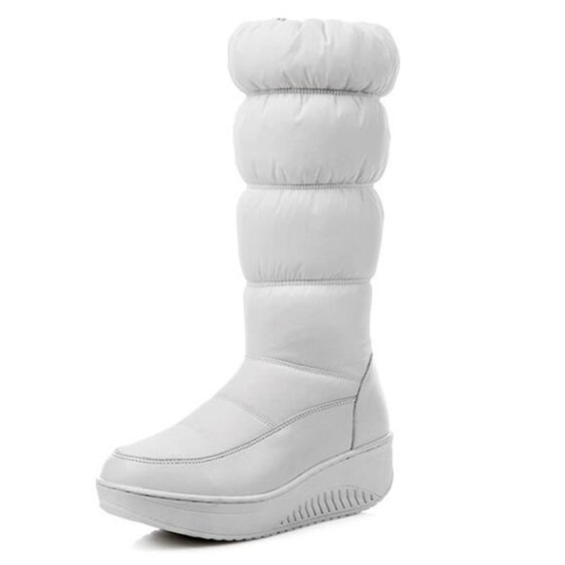 Botas Acolchado azul Invierno Ternero Zapatos Mujer De Alta Tallas Grandes Mediados Impermeable Piel Plataforma 2019 Calidad negro Beige Covoyyar Wbs787 Cálido Nieve FXqwp1nE