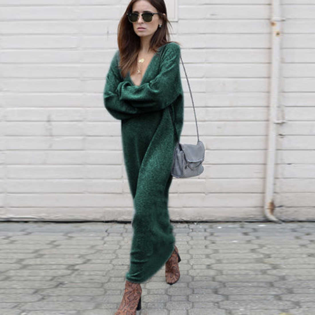 Autumn Winter Warm Knitted Long Sweater Women Solid v Neck Long Sleeve Casual Loose pulover feminino