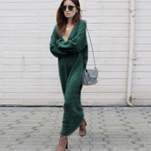 Autumn Winter Warm Knitted Long Sweater Women Solid v Neck Long Sleeve Casual Loose pulover feminino hamaliel high quality autumn and winter sweater long dress 2018 fashion solid long sleeve knitted v neck bodycon dress with belt