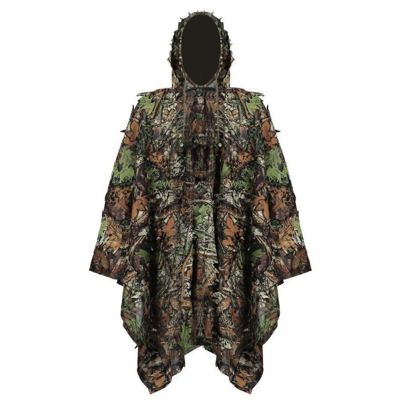 Neue 1,6 Mt 3d Jagd Verlässt Kleidung Dschungel Woodland Jagd Mit Cap Anzug Camo Poncho Mantel Bionic Für Sniper Fotografie Sport & Unterhaltung Sportbekleidung
