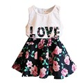 Children's clothing 2016 summer letter flower love vest short skirt clothes suit in September