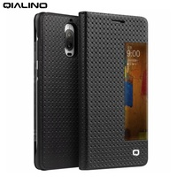 Original QIALINO For Huawei Mate 9 Pro Cover Flip Smart View Window Grid Texture Genuine Cowhide