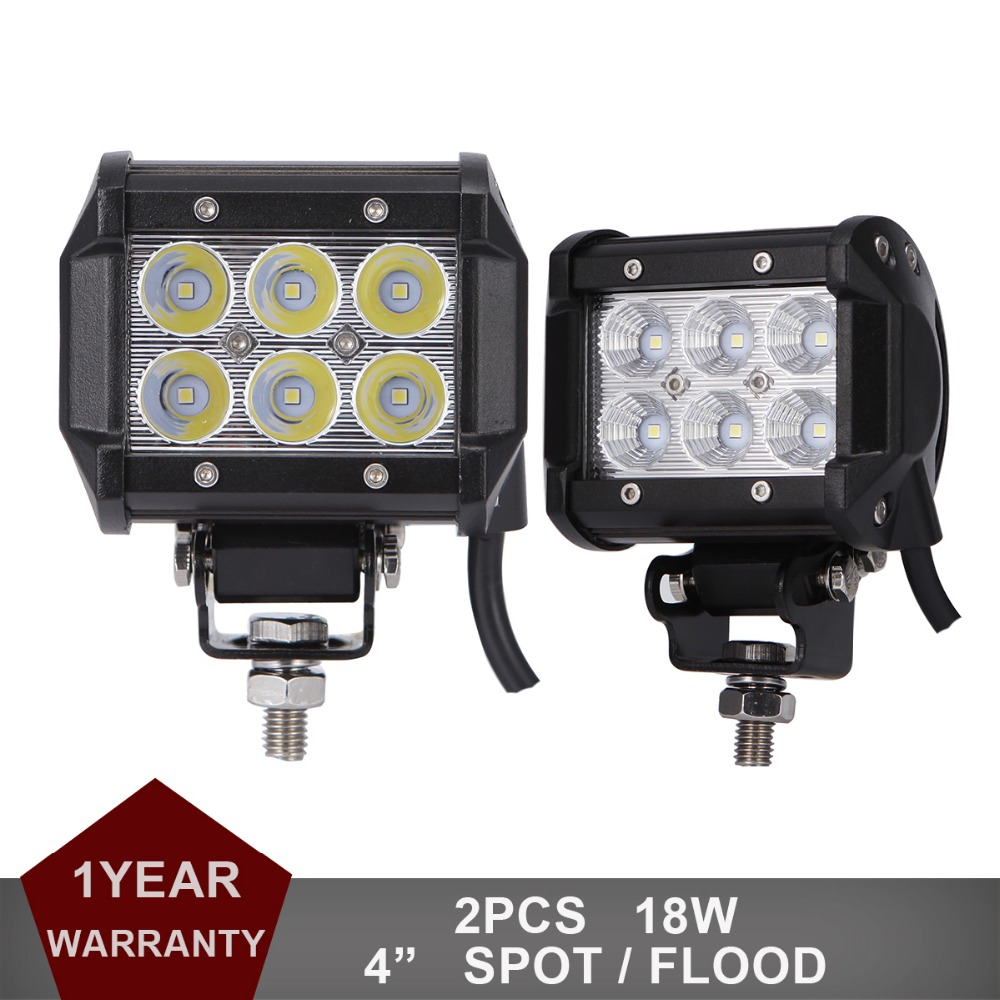 "4 inch"" 18W LED Work Driving Light Offroad Fog Lamp Car Auto Truck ATV Motorcycle Trailer Bicycle 4WD AWD 4x4 12v 24v Spot Flood"""