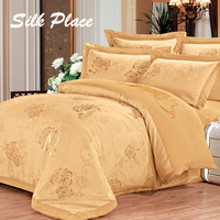 SILK PLACE Silk Satin Cotton Blend Bedding Set King Queen Size Bedspread Comforter Quilt Cover Bed