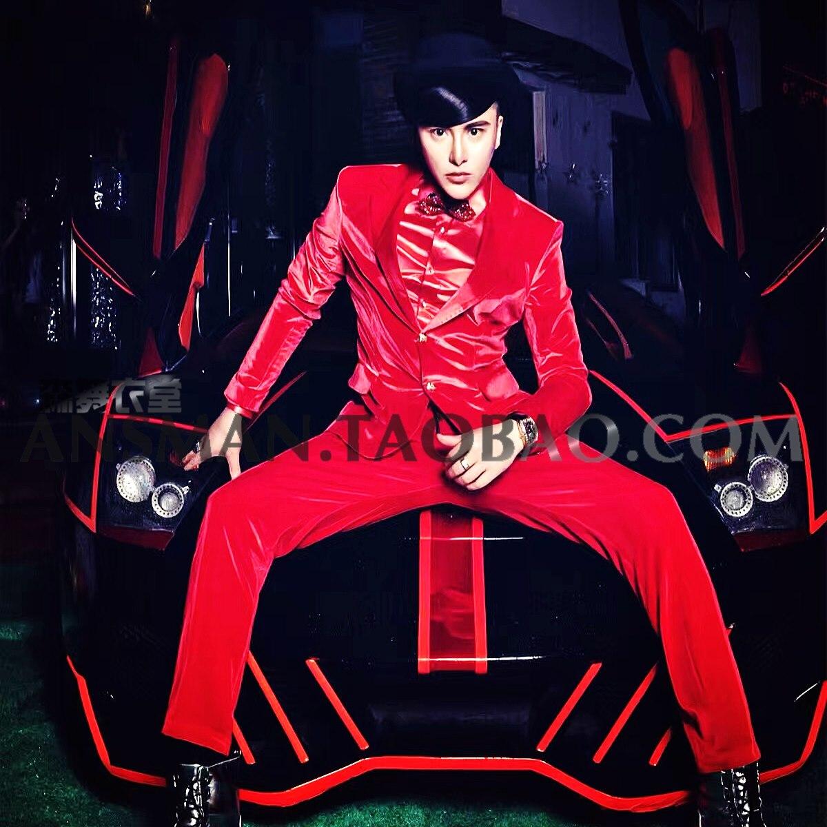 Nightclub male singer DJ Mens Blazer Men Fluorescent pink velvet Slim suits dress Host performance clothes Plus Size Coats