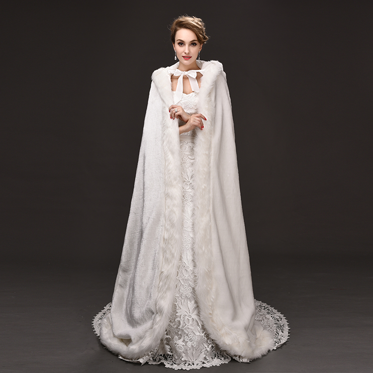 Hochzeit Jacken/wrap Mode Wunderschöne Cape Winter Braut Shrug Hochzeit Jacke Lange Mantel Wraps Mit Kapuze Party Wraps Jacke