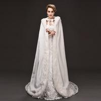 White Long Winter Wedding Bridal Capes Cloaks Evening Bolero Hooded Faux Whole Fur Trim Party Wraps Shawl women clothing