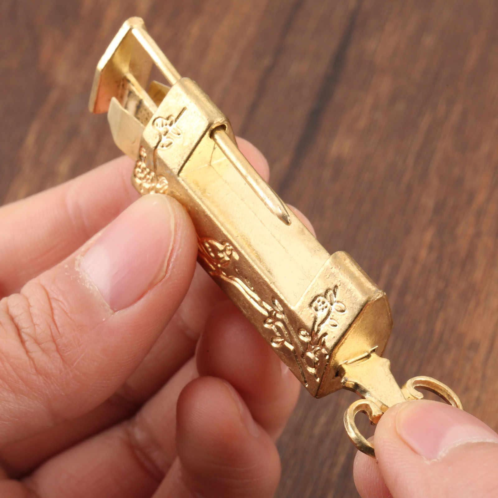 Vintage Gold Chinese Old Lock Retro Brass Padlock Antique Jewelry Wooden Box Padlock Lock Suitcase Door Hardware Locks