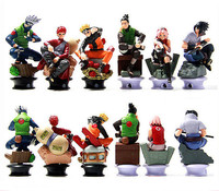 6 Pcs Set Naruto Action Figure Toys 8cm Anime Cool Uzumaki Hinata Madara Kakashi PVC Dolls