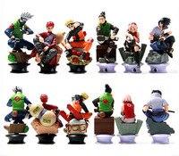 6 Pcs Set Naruto Action Figure Toys 8cm Anime Cool Uzumaki Hinata Madara Kakashi PVC Dolls