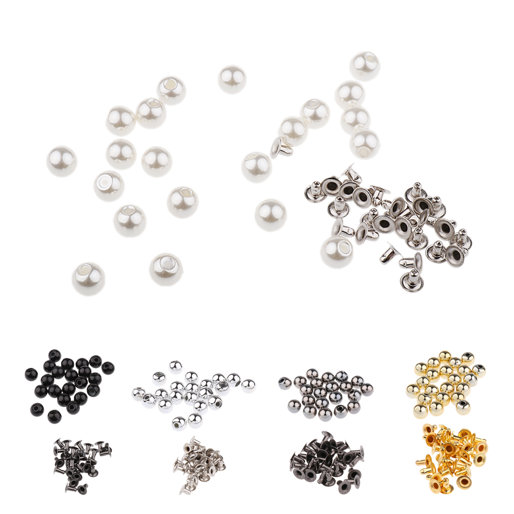 New Arrived 20 Sets Pearl Rivets Studs Snap Buttons for Cloth Hat Bag Shoes Crafts Decoration DIY Home Garment Accessories
