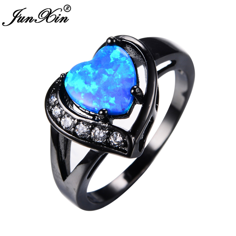 Aliexpress Com Buy Junxin Women Blue Fire Opal Heart