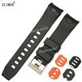 Zlimsn 20mm 22mm new black orange extremidade curva de borracha diver watch band strap