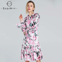 SEQINYY Printed Dress Pink Flowers Women Summer Spring New Fashion High Quality Draped Long Sleeve A line Knee Ruffles Dress