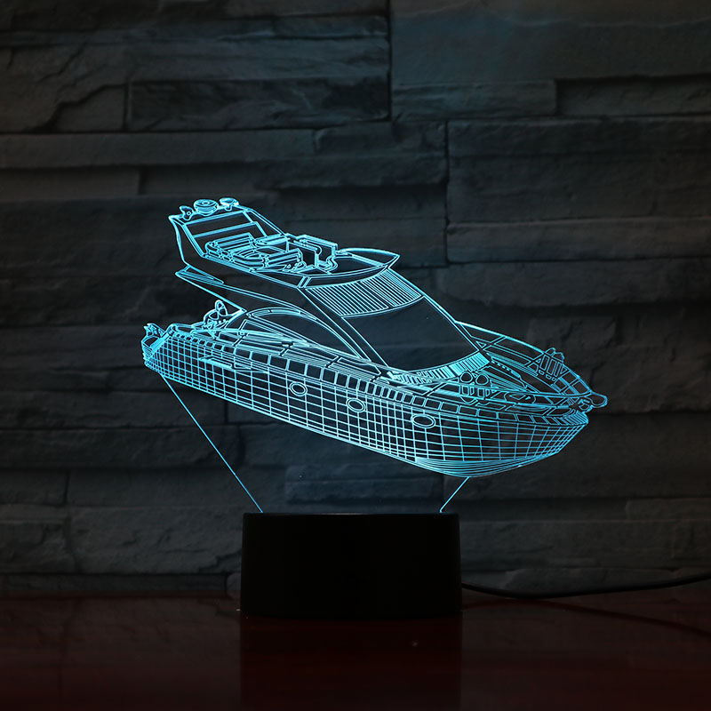 Speedboat LED Night Light Decoration 3D Illusion 7 Color Changing Childrens Kids Baby Nightlight Gifts Table Lamp Bedroom Neon in LED Night Lights from Lights Lighting