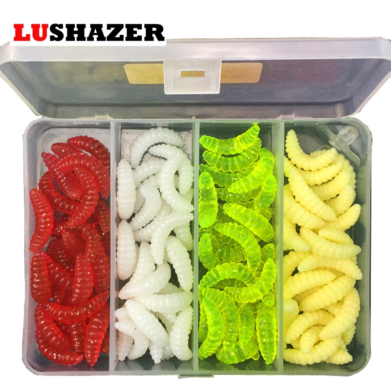 100pcs/lot fishing lure soft maggot worm 2.4cm 0.5g silicone bait isca artificial lote lures bass tackles fishing accessories 50pcs new wifreo soft lure loader locker connector fishing worm hook bait accessories for bass fishing wholesale