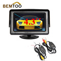 BEMTOO Real 2.4ghz Wireless Parking Assistance with 4.3 Inch Car Mirror Monitor Tft Color Lcd Dvd Vcr with Video Input,freeship