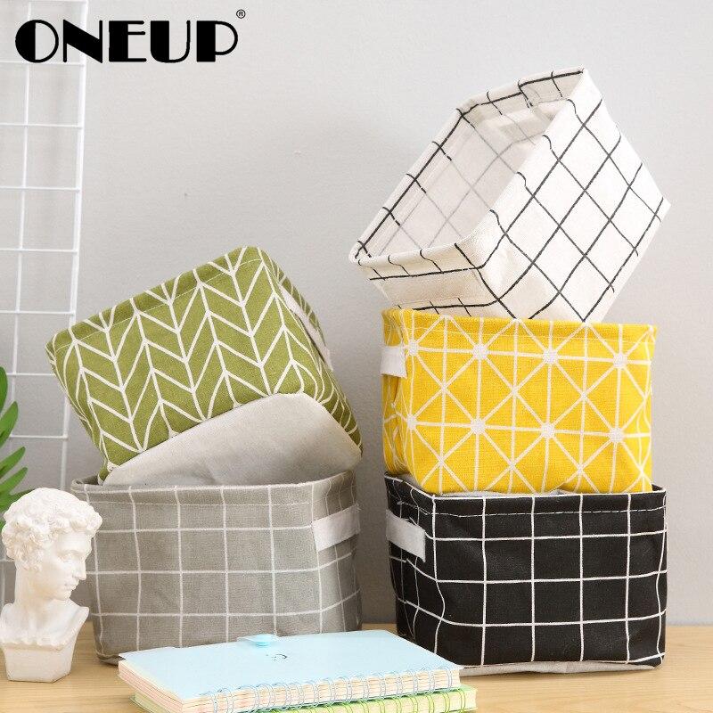 ONEUP DIY Office Desktop Storage Basket For Toys Laundry Basket Desktop Organize Folding Jewelry Makeup Stationery Storage Box
