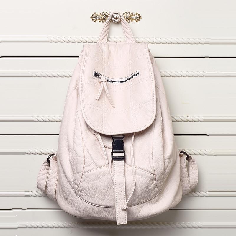 Ny tvättad läderväska Högkvalitativa läderkvinnor ryggsäckar Bolsos Mochila Mujer skolväska ryggsäck för tjejer resväska ryggsäck