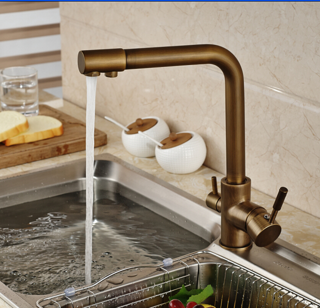 Luxury antique brass kitchen faucet vessel sink mixer tap pure water luxury antique brass kitchen faucet vessel sink mixer tap pure water spout deck mounted kitchen tap workwithnaturefo