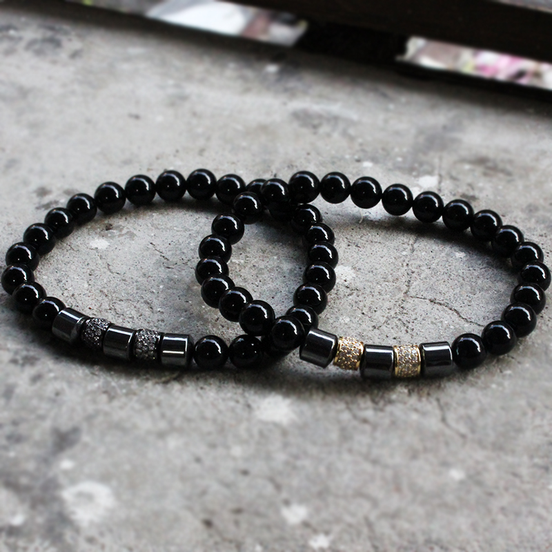 Norooni 2018 New Pave CZ Round Stopper Beads Bracelet 8mm Nature Beads With Hematite Bead Charm Bracelet For Men Jewelry Gift