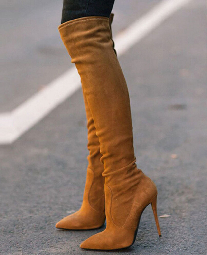 New Arrival Women Booties Pointed Toe High Heel Long Boots Brown Stretch Suede Leather Over Knee Boots