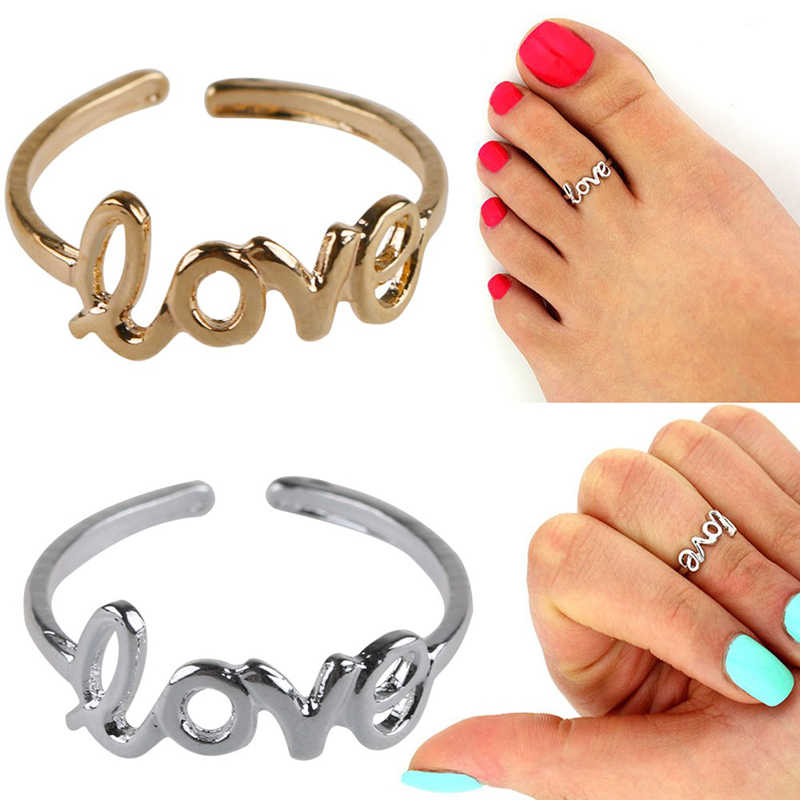 Adjustable Foot Ring Beach Jewelry 1 pcs Women Fashion Toe Ring Delicate Jewelry Celebrity Simple Hollow Love Letters Open