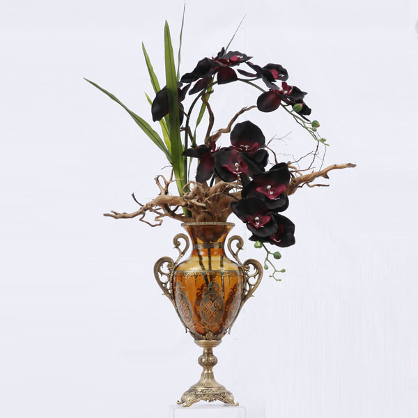European Classic Decorative Colorful Painting Glass Flower Vase With