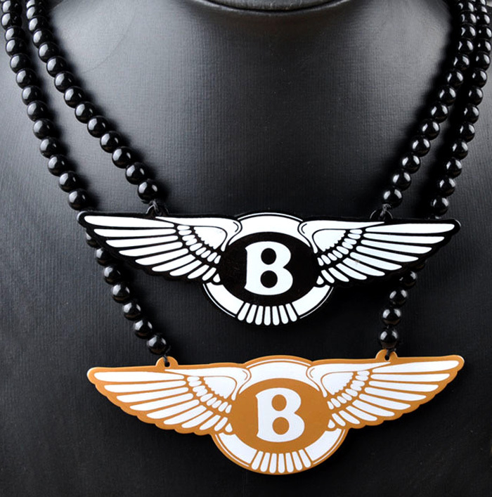 Original New Hip Hop Beads Long Chain Maxi Necklace Male Bentley Motors Rock Necklaces Pendants Collares Men Jewelry Gift
