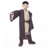 Star Wars Jedi Warrior Costume Kids Children Halloween Party Cloak Brown Polyester Cosplay Costome