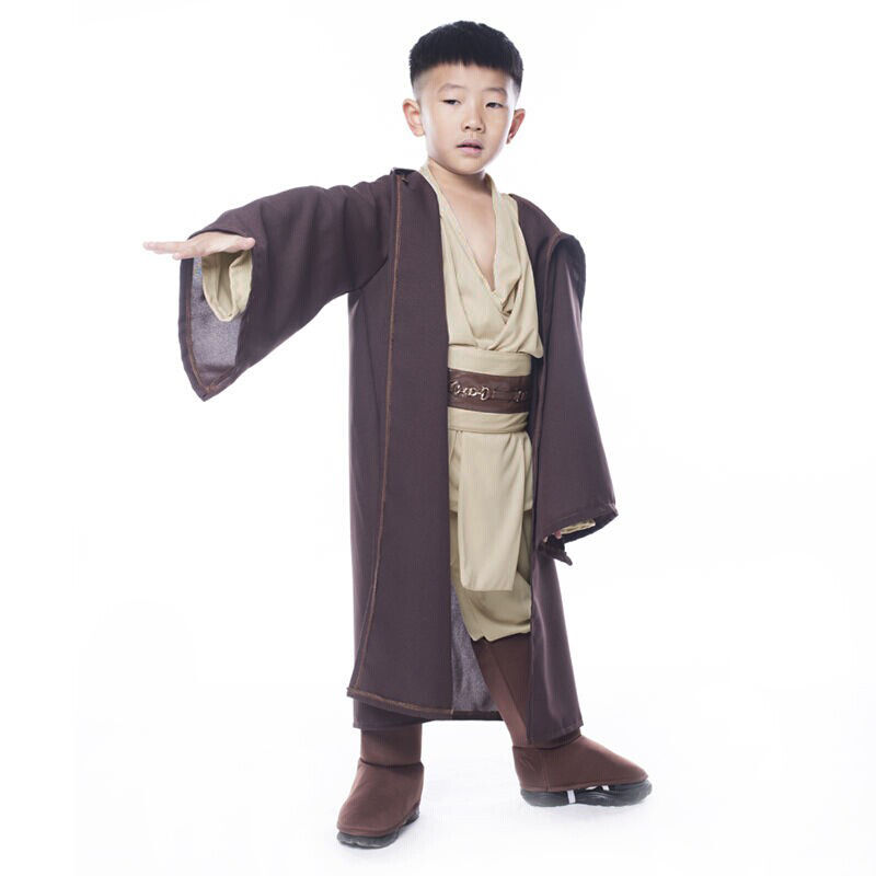 Star Wars Jedi Warrior Costume Robe Tunic Pants BeltKids Child Halloween Party Gifts Cloak Brown Cosplay Costume Full Set